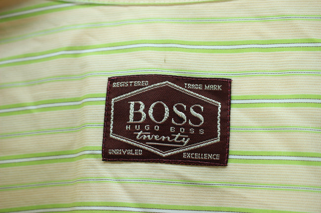 Vintage HUGO BOSS Men's Shirt, Size XL, Beige Striped Long Sleeves Cotton, Shirt, HUGO BOSS, - Top-Garms