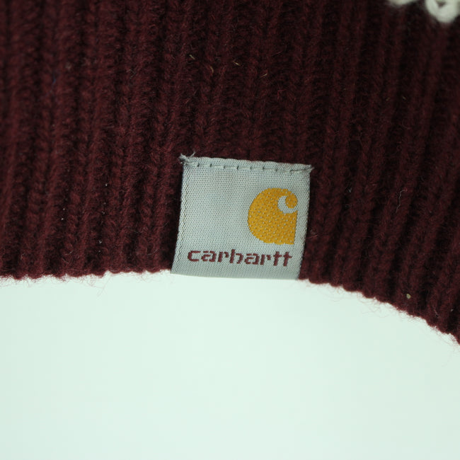 Carhartt Men's Sweater Size S Cherry Color Crew Neck Striped Long Sleeve - Top-Garms