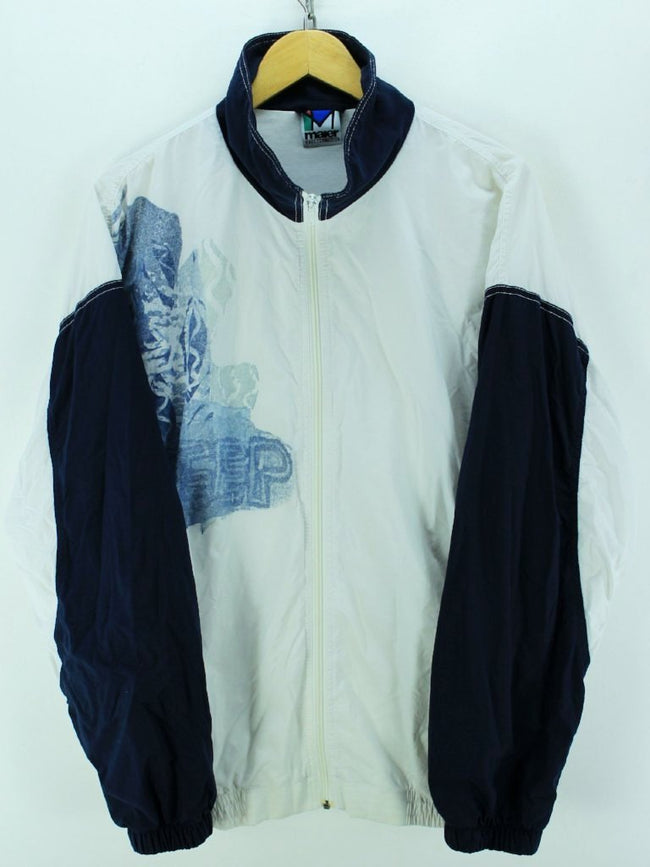 Vintage 80s Tracksuit Jacket Size XL Full Zip White Black Shell Tracktop, Tracksuit, Top-Garms, - Top-Garms