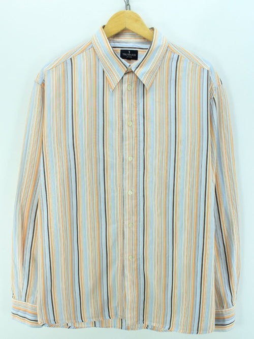 TRUSSARDI Men's Shirt Size 3XL, Multi Color Striped Long Sleeves Shirt
