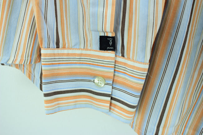 TRUSSARDI Men's Shirt Size 3XL, Multi Color Striped Long Sleeves Shirt, Shirt, Trussardi, - Top-Garms