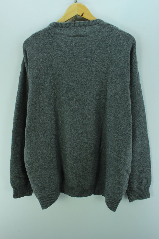 Valentino Men's Sweater in Grey Size XL Crew Neck Wool Jumper, Jumper Sweater, Valentino, - Top-Garms