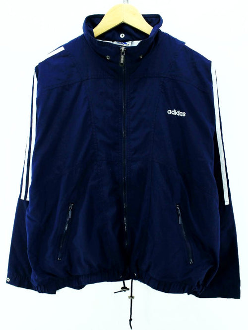 Vintage Adidas Women's Track Jacket in Navy Blue Size 14 Full Zip