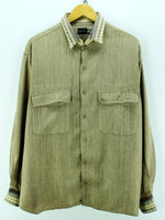 Calvin Klein Men's Shirt Size XL Beige Long Sleeve Rayon Casual Shirt - Top-Garms