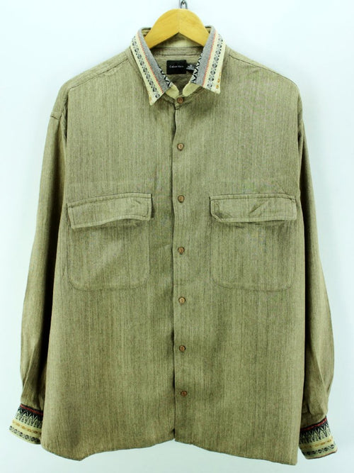 Calvin Klein Men's Shirt Size XL Beige Long Sleeve Rayon Casual Shirt