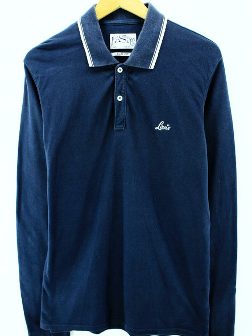 Levi's Men's Polo Shirt Size M Slim Fit Blue Long Sleeve Cotton Casual