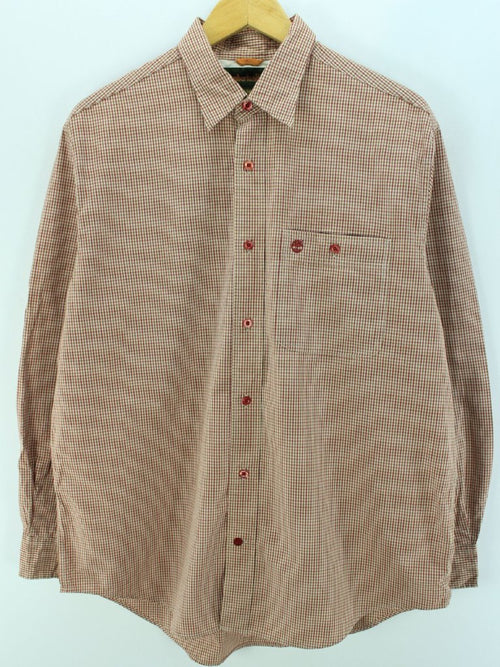 Timberland Men's Shirt Size M Red Long Sleeves Small Checks Casual Shirt