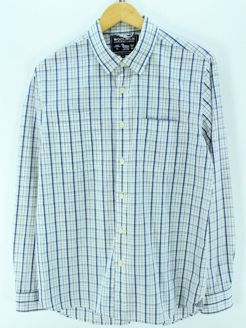 Woolrich Men's Shirt Size L, White Blue longsleeves Western shirt