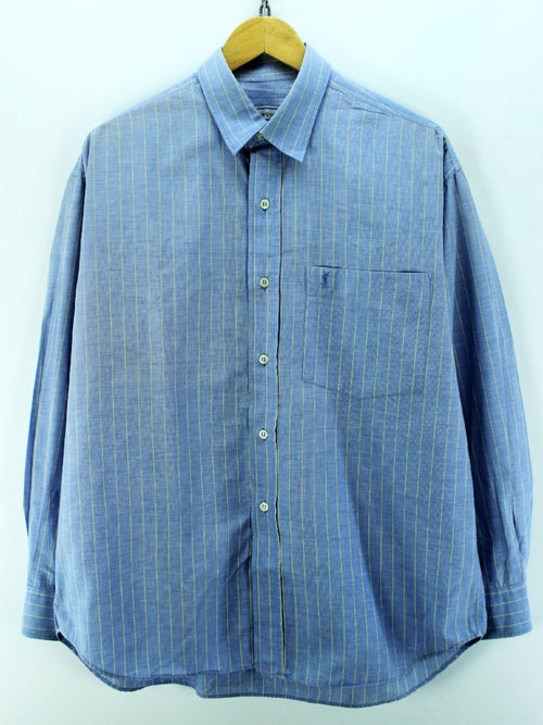 Yves Saint Laurent Men's Shirt Size 5 XL Blue Long Sleeve Cotton Casual