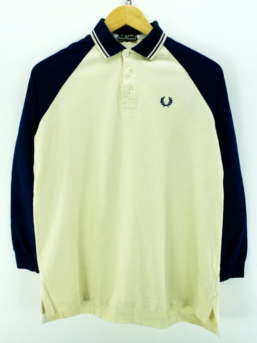 Fred Perry Kid's Polo Shirt Size 12Years in Ivory 100% Cotton Long Sleeve