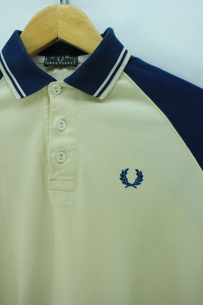 Fred Perry Kid's Polo Shirt Size 12Years in Ivory 100% Cotton Long Sleeve, Polo Shirt, Fred Perry, - Top-Garms