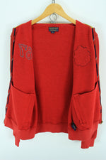 Polo Ralph Lauren Men's Full Zip Sweater, Size M, Red Zip Cardigan, Jumper Sweater, Ralph Lauren, - Top-Garms
