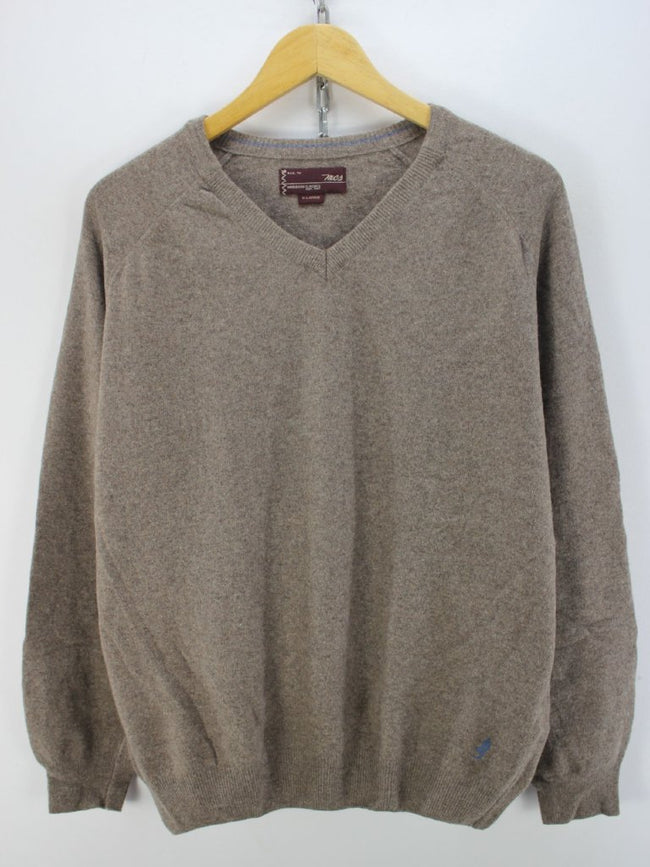 Marlboro Classics Men's Sweater Size XL Grey Wool V-neck Jumper, Jumper Sweater, Marlboro Classics, - Top-Garms