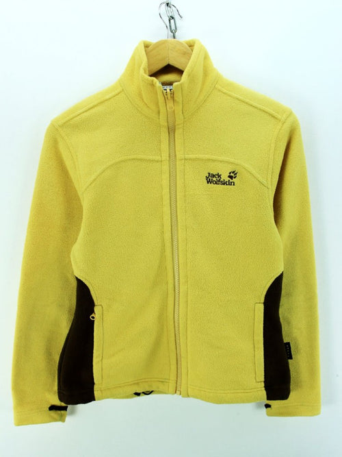 Women's Jack Wolfskin Fleece Jacket in Yellow Size 8 XS Full Zip Sweater