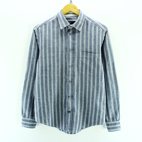 Ermenegildo Zegna Men's Shirt Size S Long Sleeve Striped Blue Casual Top