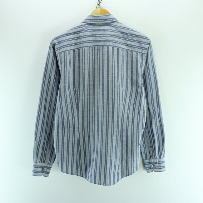 Ermenegildo Zegna Men's Shirt Size S Long Sleeve Striped Blue Casual Top, Shirt, Ermenegildo Zegna, - Top-Garms