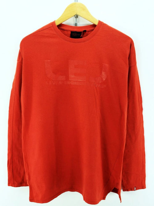 Levi's Crew Neck Sweater in Red Size M Cotton Long Sleeves Tee