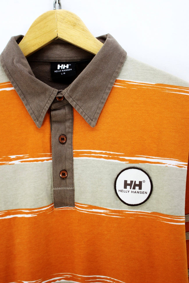 Vintage Helly Hansen Men's Polo Shirt, Size L Large, Long Sleeve, Cotton, Polo Shirt, Helly Hansen, - Top-Garms