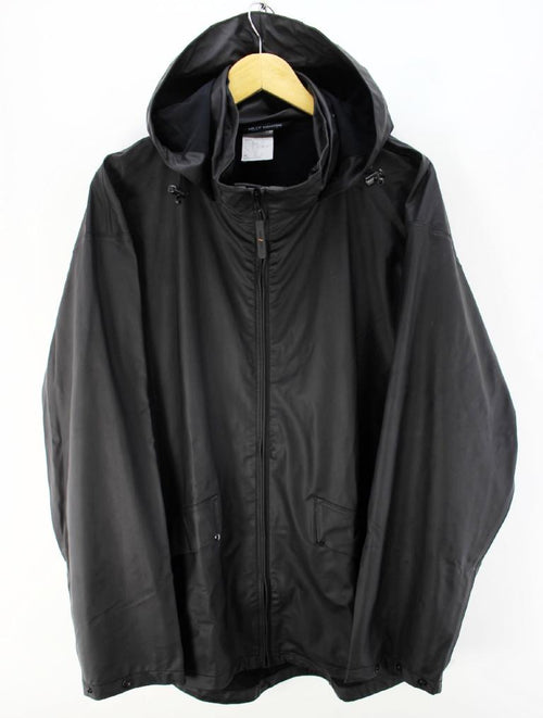 Superb Helly Hansen Men's Black Raincoat Size XL Hooded Shell Jacket