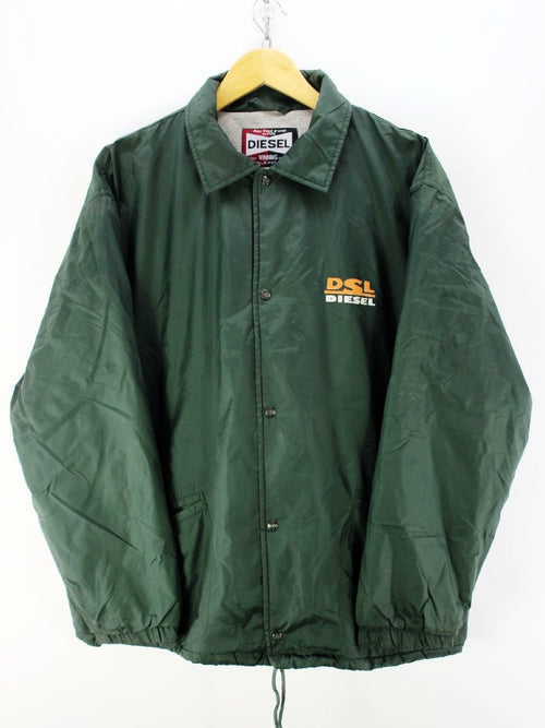 Vintage Diesel Oversized Jacket in Green Size M Windproof Full Zip Jacket