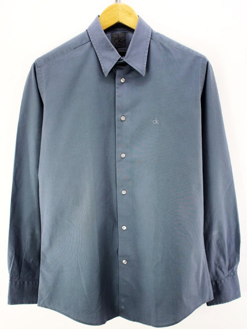 Calvin Klein Men's Casual Shirt in Grey Size M Slim Stretch fit Shirt
