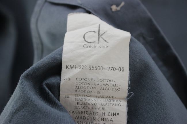 Calvin Klein Men's Casual Shirt in Grey Size M Slim Stretch fit Shirt - Top-Garms