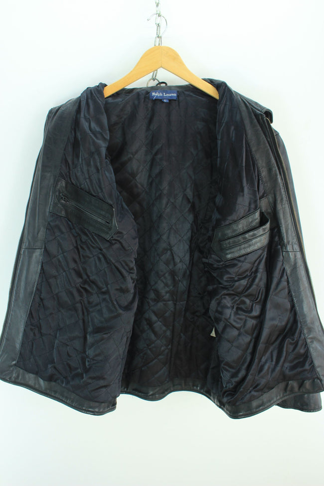 Superb Ralph Lauren Biker Leather Jacket Size L, Black quality genuine RL jacket, Coat's & Jacket's, Ralph Lauren, - Top-Garms