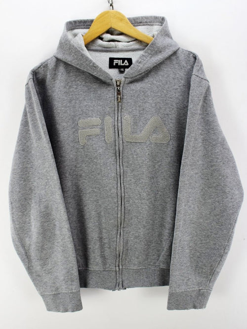 Vintage FILA Full Zip Hoodie in Grey Size L / XL Long Sleeves Jacket