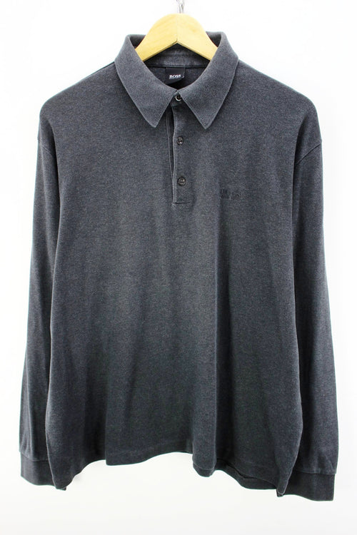 HUGO BOSS Men's Polo Shirt in Dark Grey Size XL Long Sleeves Cotton Polo