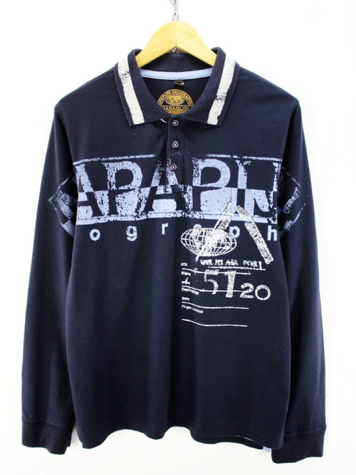 Napapijri Men's Polo Shirt in Navy Blue Size L Big Logo Rugby Shirt