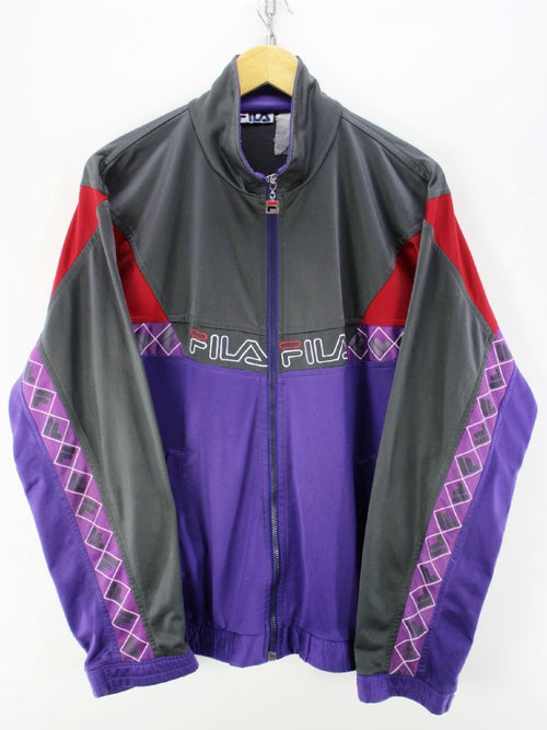 Vintage 90s FILA Tracksuit Jacket Size L Purple Full Zip Tracksuit Top