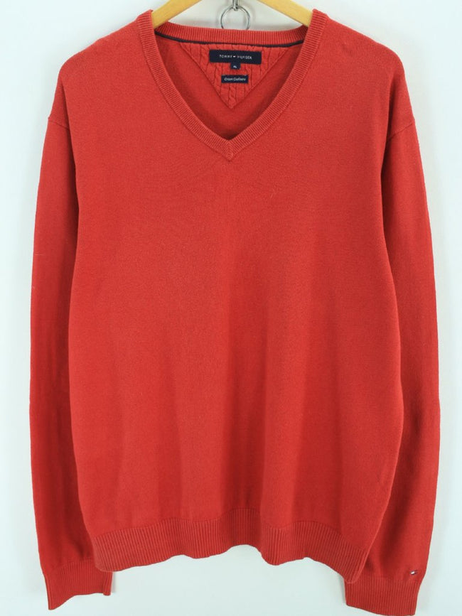 Tommy Hilfiger Men's Vneck Jumper Size XL Red Cotton Cashmere Jumper, Jumper Sweater, Tommy Hilfiger, - Top-Garms