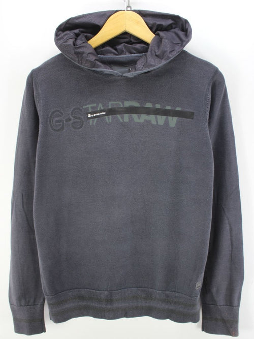 G-Star Men's Hoodie Size L Long Sleeve Hooded Sweater in Dark Grey