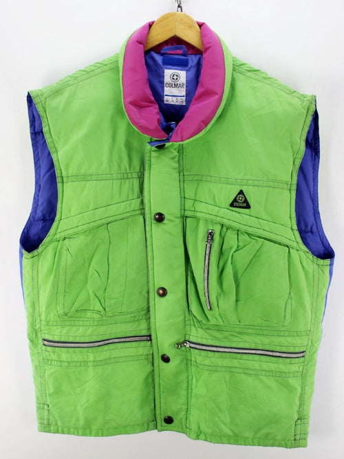 Vintage Colmar Sleeveless Jacket in Green Size 40 Warm Bodywarmer, Gilet