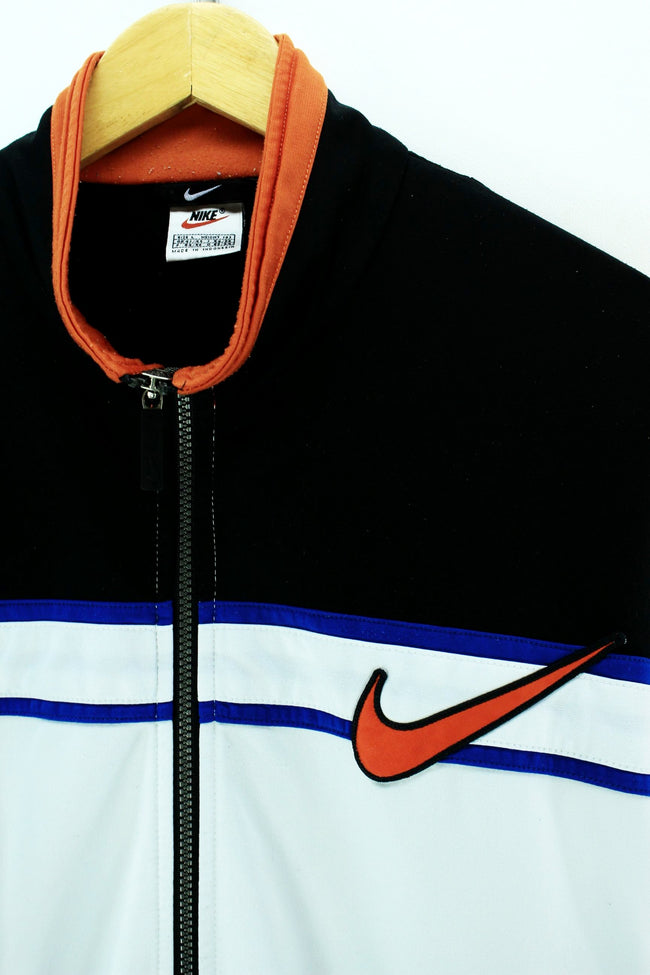 Vintage 90s Nike Track Jacket in Black & White Full Zip Tracktop Size L, Tracksuit, Nike, - Top-Garms
