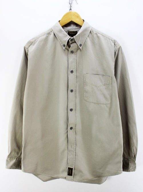 Calvin Klein Men's Button Down Shirt in Grey Size L Longsleeves Shirt