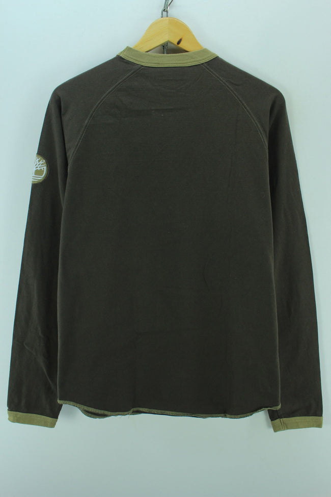 Timberland Men's Crew Neck Sweater Size S Brown Long Sleeve Cotton Tee, Jumper Sweater, Timberland, - Top-Garms