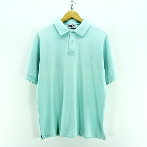 FILA Men's Polo Shirt Size L Light Blue Short Sleeve Cotton Casual Shirt