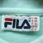 FILA Men's Polo Shirt Size L Light Blue Short Sleeve Cotton Casual Shirt - Top-Garms