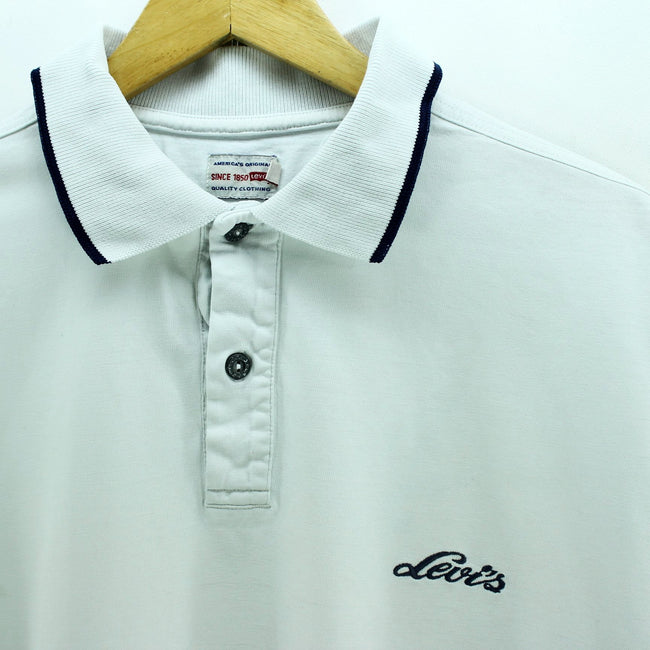 Levi's Men's Polo Shirt Size L White Short Sleeve Cotton Casual Shirt EF3210, Polo Shirt, Levi's, - Top-Garms