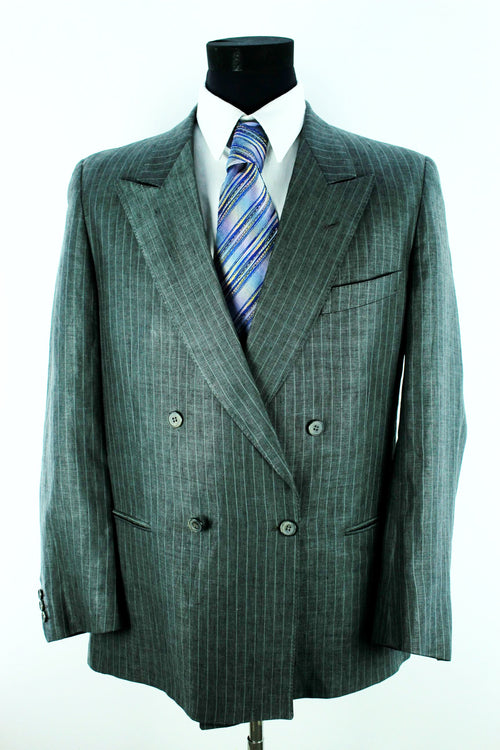 Vintage Valentino Men's Linen Jacket Size 54 XL Classic Fit Grey Striped