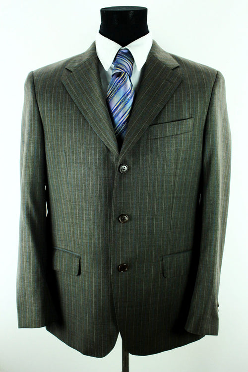 Ermenegildo Zegna Men's Wool Jacket Size 50 M - L Classic Fit Grey Striped