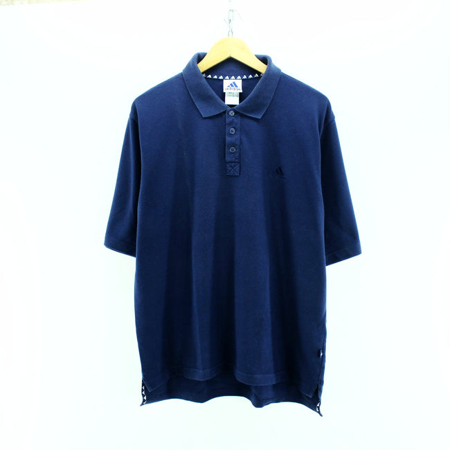 adidas Men's Polo Shirt Size 44/46 M Blue Short Sleeve Cotton Casual - Top-Garms