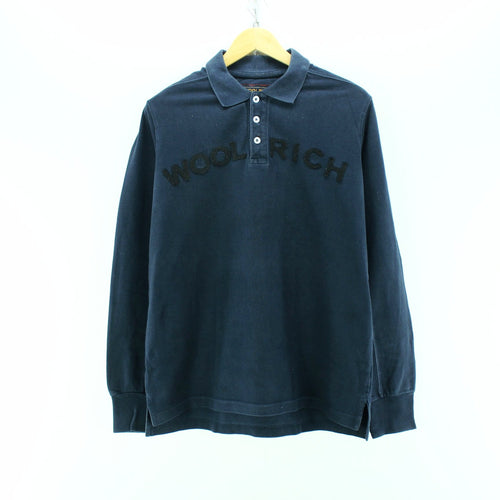 Woolrich Men's Polo Shirt in Blue Size L Spellout Rugby Shirt