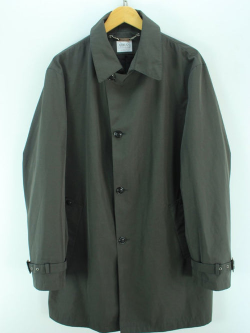 Superb Armani Men's Coat Size 56 Uk XL Dark Olive Trench Coat