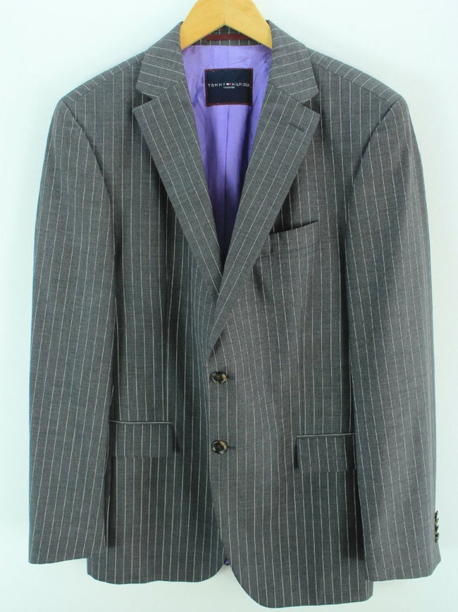 Tommy Hilfiger Men's Wool Blazer Size L, Striped Grey Tailored blazer, Coat's & Jacket's, Tommy Hilfiger, - Top-Garms