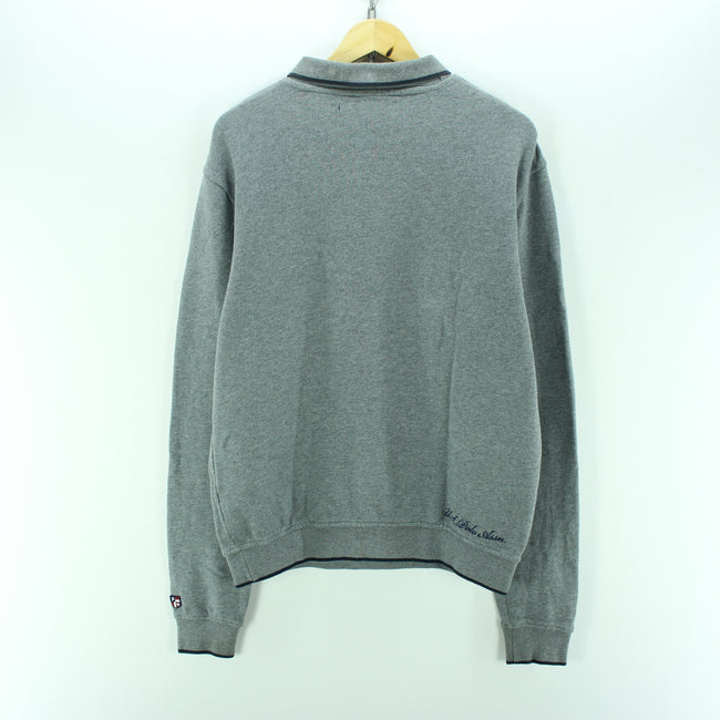 US Polo Sweater in Grey Size L Long Sleeves Cotton Sweatshirt, Jumper Sweater, US Polo, - Top-Garms