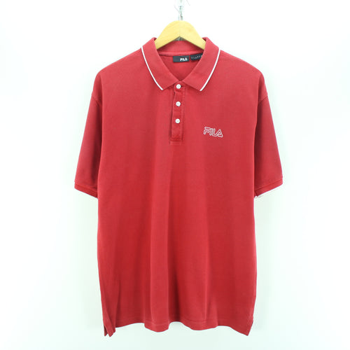 FILA Men's Polo Shirt Size L Red Short Sleeve Cotton Casual Polo Shirt