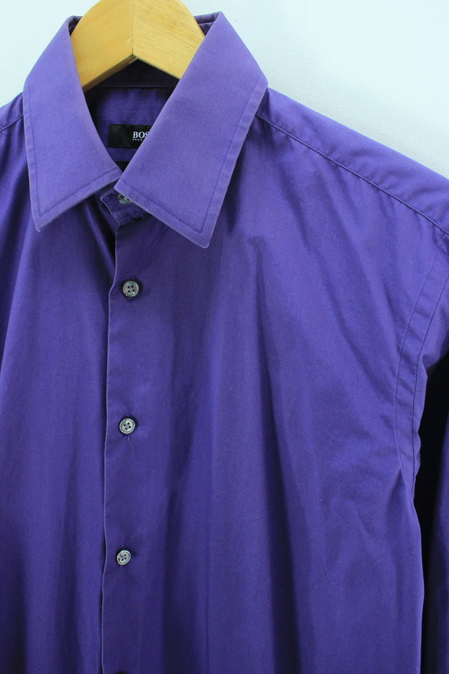 HUGO BOSS Men's Formal Shirt Size 39 15 1/2 S Purple Cotton Shirt, Shirt, HUBO BOSS, - Top-Garms