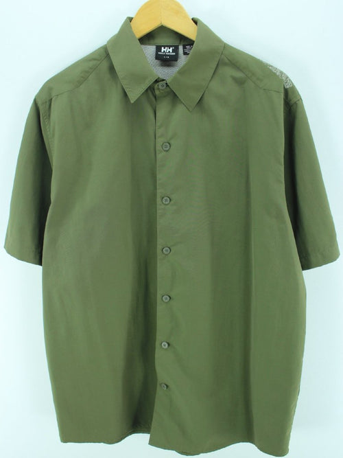 Helly Hansen Men's Outdoor Shirt Size L Army Color Shortsleeves Shirt